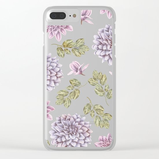 Lavender Rose Garden Floral Pattern Clear iPhone Case