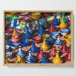 Colorful ceramic tajines in the market Morocco Serving Tray