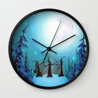 coven Wall Clocks featuring Witch Coven by Annya Kai