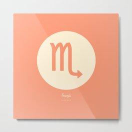 Scorpio Symbol Pink Metal Print