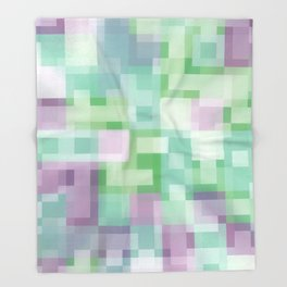 Soft Squares in Pastel Purple and Green Throw Blanket
