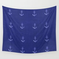 anchors Wall Tapestries featuring Anchors Away - Blue by Judy Palkimas