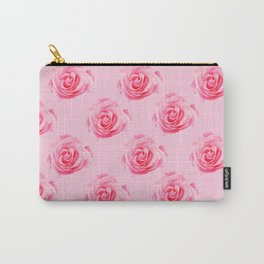 Pink Rose Swirly Petals Carry-All Pouch