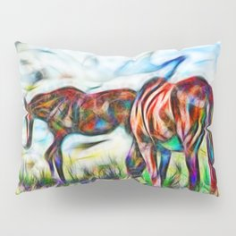 Abstract horses in paddock Pillow Sham