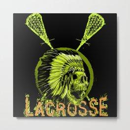 Lacrosse, Lax, Baggataway, Skull Player Coach Fan Metal Print