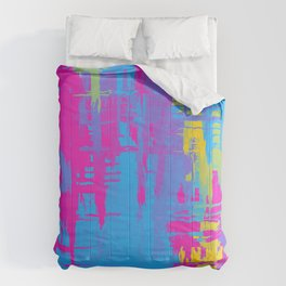 Pansexual Pride Rough Crosshatched Paint Strokes Comforters