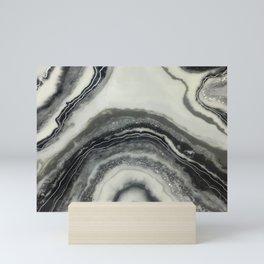Black and white resin geode print Mini Art Print