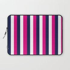 Stripes - Navy, White, Pink Laptop Sleeve
