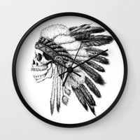 native Wall Clocks featuring Native American by Motohiro NEZU