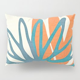 Mid Century Nature Print / Teal and Orange Pillow Sham