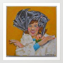 Bat Hat Lady #1 Art Print