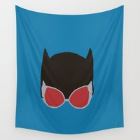 catwoman Wall Tapestries featuring Catwoman Icon by Whimsy Notions Designs