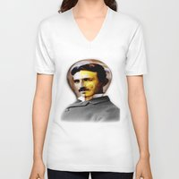 tesla V-neck T-shirts featuring Tesla by EclipseLio
