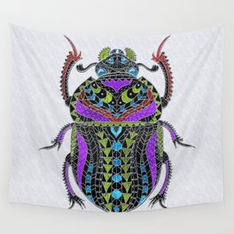 Egyptian Scarab Beetle - Silver & color metallic Wall Tapestry