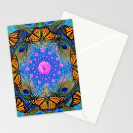 MONARCH BUTTERFLIES & PINK ROSES Stationery Cards