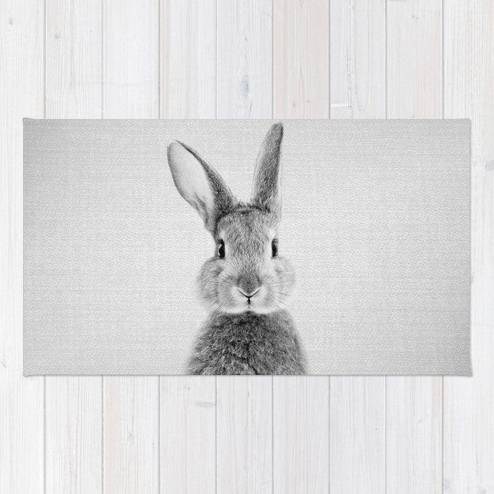 Rabbit Black White Rug By Galdesign Society6
