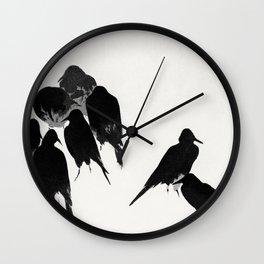 9 Crows Minimal Ink Art Illustration Wall Clock