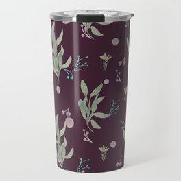 Modern burgundy pink pastel green watercolor floral Travel Mug