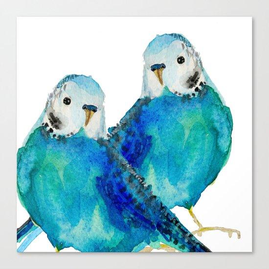 Budgie couple  Canvas Print