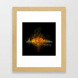 Phoenix Arizona, City Skyline Cityscape Hq v4 Dark Framed Art Print
