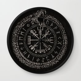 Vegvisir with Ouroboros and runes Wall Clock