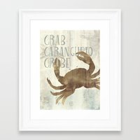 crab Framed Art Prints featuring crab by M Maia Art