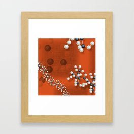 Atomic structure on red canvas Framed Art Print