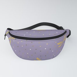 Gold Dragonfly Christmas seamless pattern and Gold Confetti on Purple Background Fanny Pack