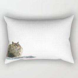 Cat on the rocks Rectangular Pillow