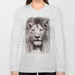 Lion Drawing Illustration Ink Black and White Long Sleeve T-shirt