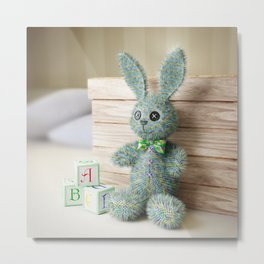 Toy Bunny in the Nursery Metal Print