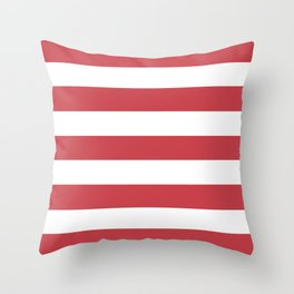Strawberry red - solid color - white stripes pattern Throw Pillow