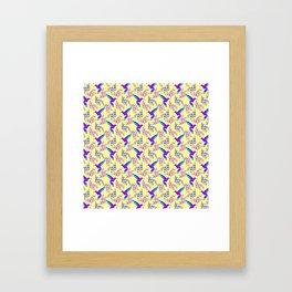 Pretty beautiful cute purple blue hummingbirds, delicate twigs with little leaves yellow pattern. Framed Art Print