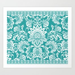 Damask in emerald Art Print