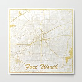 Fort Worth Map Gold Metal Print