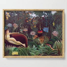 The Dream by Henri Rousseau 1910 // Jungle Lion Flowers Native Female Laying Colorful Landscape Serving Tray