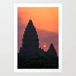 Cloudy sunrise at Angkor Wat Art Print