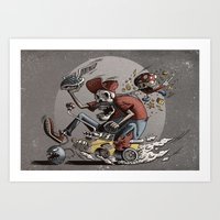 mario kart Art Prints featuring Death Kart by Calakka