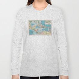 Vintage Map of The Caribbean Sea (1913) Long Sleeve T-shirt