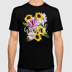 Stay Weird in Flowers // Hand Lettering Mens Fitted Tee Black MEDIUM