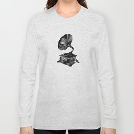 GRAMOPHONE, black and white Long Sleeve T-shirt