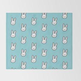 Cute Bunny Pattern (Blue) Throw Blanket