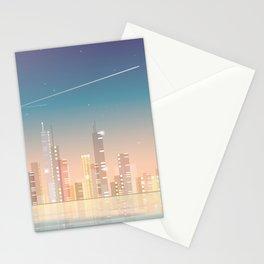 City skyline at night Stationery Cards
