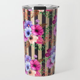 Fragrant Floral Bouquets on Striped Pattern Travel Mug