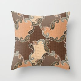 Tiny floral and paisley shawl pattern. Ethnic Paisley patchwork Throw Pillow