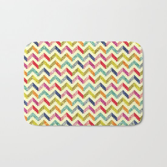 Chevron Multi Color Zigzag Pattern Bath Mat