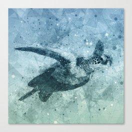 Geometric Flying Green Sea Turtle Canvas Print