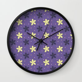 Ultra violet seamless pattern with flowers and dots Wall Clock