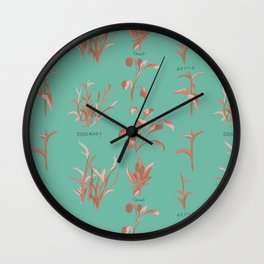 Rosemary, Sage, Nettle. in Coral Wall Clock