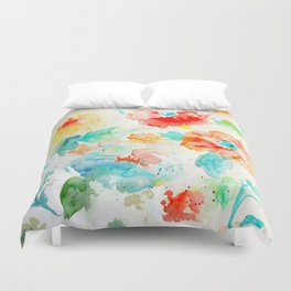 Watercolor Abstract Floral Pattern Red Orange Blue Duvet Cover